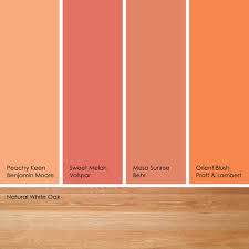 peach paint colorsFrom left to right Peachy Keen from Benjamin Moore Sweet Melon