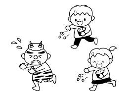 節分子供二人で鬼に豆まきをする白黒イラスト かわいい無料の白黒