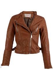 faux leather biker jacket brown women wbg
