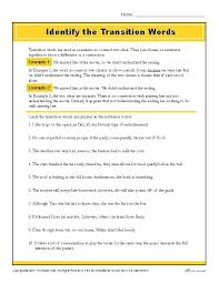 best transition words ideas transition words  identify the transition words printable writing worksheet