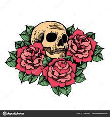 Rose Tattoo S Lebkou Růže Izolované Vektorové Ilustrace Stock