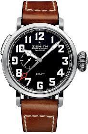 men top watches zenith pilot automatic black dial leather strap zenith pilot automatic black dial leather strap mens watch 03 2430 693 21 c723