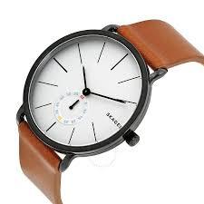 skagen hagen white dial brown leather men s watch skw6216