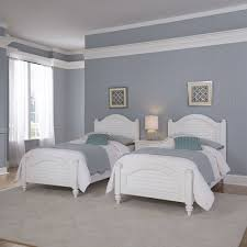 Home Styles Furniture Bermuda White 2 Twin Beds and Night Stand ...