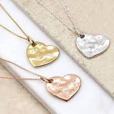 original personalised precious metal hammered heart necklace 1
