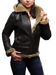 women s real shearling sheepskin flying aviator leather jacket hooded ginger