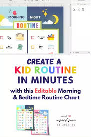 Editable Bedtime Routine Chart List Of Pinterest Nightly Routine Checklist Chore Charts