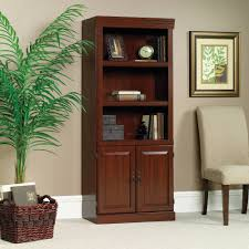 ... Sauder Library Bookcase With Doors Heritage Dark Brown Three Shelves  Plus Some Books And Modern Decoration ...