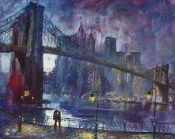 brooklyn bridge painting romance by east river nyc by ylli haruni