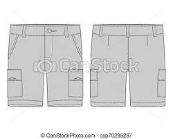 Shorts Design Template Technical Sketch Grey Cargo Shorts Pants Design Template
