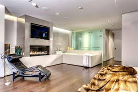 Apartment Living Room And Workspace Arrangement Marvelous Interior With  Incredible Led Tv Mounted Modern Fireplace