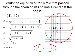 write the equation of the circle that p through the given point and has a center
