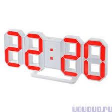 <b>Часы Perfeo LUMINOUS PF-663</b> белый корпус/красная подсветка ...