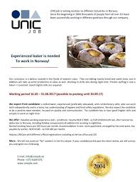 Cv Keskus Tööpakkumine Skilled Baker To Work In Norway 10 05