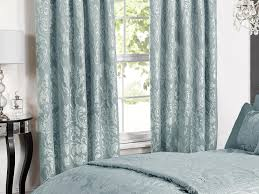 deluxe boston jacquard damask lined curtains in duck egg blue