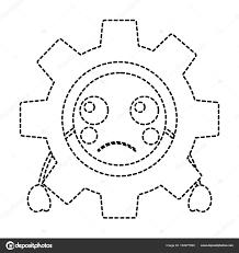 悲しいギアかわいいアイコン画像 ストックベクター Yupiramos 184977960