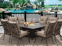 outdoor dining sets for 8. Tortuga 64x64 Square Outdoor Patio 9pc Dining Set For 8 Person With Fire Table Series 7000 - Atlas Antique Bronze Finish Sets