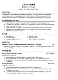 data analyst resume example business finance .