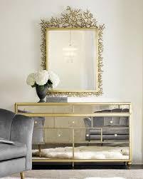 Gold Frame Mirrored Multi Drawer Dresser
