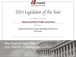 Representative Polly Lawrence   MADD