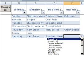 Excel Weekly Meal Planner Excel Weekly Meal Planner 20150618 Contextures Blog
