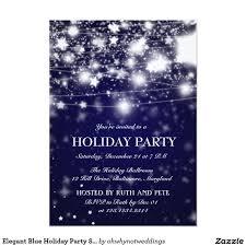 Elegant Blue Holiday Party Shining Stars Invitation Zazzle