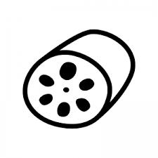 蓮根のシルエット04 無料のaipng白黒シルエットイラスト
