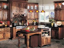 Rustic Kitchen Furniture Small Wooden Island Table Below Orange Pendant Lamp And Rustic