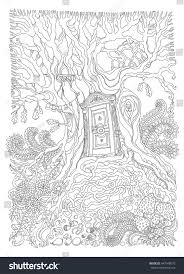 vector hand drawn fantasy old oak tree with entrance wooden door black and white sketch