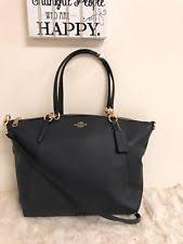 Coach Large Kelsey Satchel Pebble Leather Crossbody Bag Black Midnigt Blue