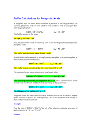 Buffer Calculations For Polyprotic Acids