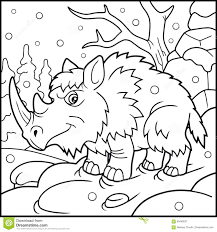 woolly rhino coloring book stock vector ilration of coloring 99448527