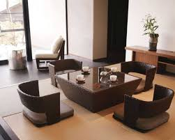 Japanese Living Room Furniture With Wicker Flooring Seats Combined Low  Coffee Table Glass Top