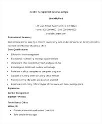 Dental Office Resume Gorgeous Receptionist Duties For Resume Front Office Receptionist Sample