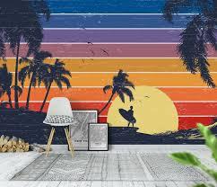 ocean mural beach mural garden wall art