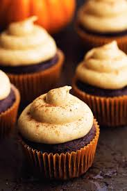 chocolate cupcake with cream cheese frosting. Beautiful Cheese Chocolate Pumpkin Cupcakes With Cinnamon Cream Cheese Frosting And Cupcake With