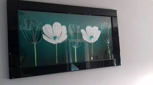 teal and white liquid art picture with hand poured liquid glass and real swarovski crystals