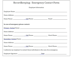 General Emergency Contact Form Employee Information Template Word