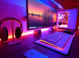 stylish home office computer room. Gaming Room Setup Ideas Modern Computer Desk And Bookcase Designs For Your Stylish Home Optic Video Interior Office