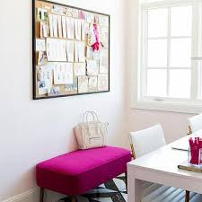 pink home office. Hot Pink Bench With Black Framed Cork Board Home Office