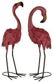 set of 2 decorative metal pink flamingo