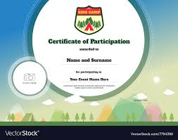 Kids Certificate Of Participation Template Camping