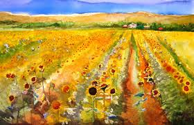 this farm was across the street from the seed flower farm in gilroy so much yellow orange and green in one place i painted it on a full sheet of