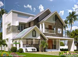 modern sloping roof villa