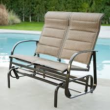 outdoor glider rocker. Weatherproof Outdoor Loveseat Glider Chair With Padded Sling Seats In Bronze Rocker ,