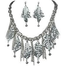 women fashion jewelry sets costume jewellery set gift silver metal mesh chandelier drop cascade loading zoom