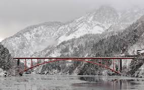 Japan Winter Bridges Rivers 1920x1200 Wallpaper High Quality