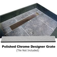 redi trench single curb shower pan with left linear drain polished chrome designer grate