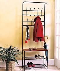 Coat And Bag Rack Wooden Entryway Storage Bench Metal Hooks W Knobs Coat Bags Shoe 29