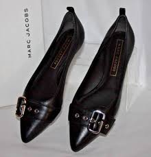 marc jacobs reed black leather flats women s size 9 m euro 39